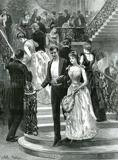 Going down to supper. My first ball. From the Graphic, 5 April 1890.
