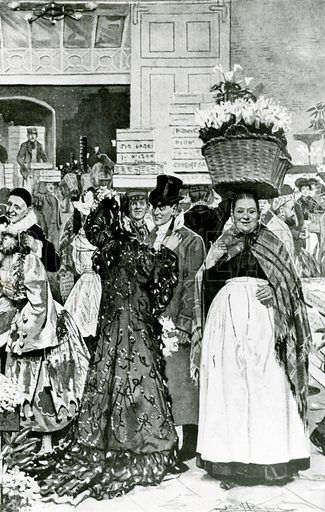 A flower seller in Covent Garden accosts a leaving customer