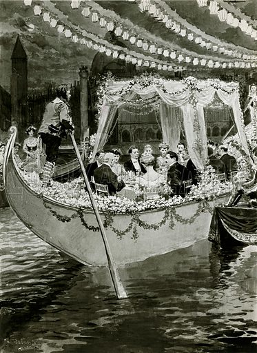 Gondola dinner at the Savoy in 1905. The cost was £3,000.