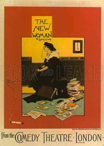 Poster for The New Woman by Sydney Grundy at the Comedy Theatre.