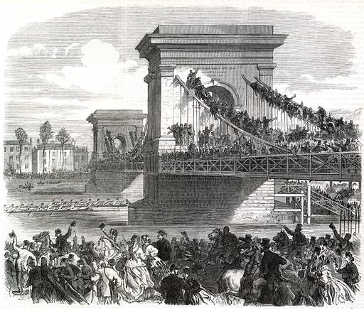 The Oxford and Cambridge boat race, scene at Hammersmith Bridge. From the Illustrated London News, 31 March 1866.