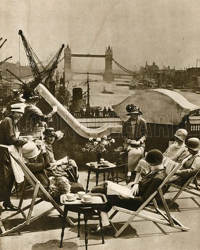 The Pool from the roof garden of the Langbourne Club for City Women. Mid 1920s.