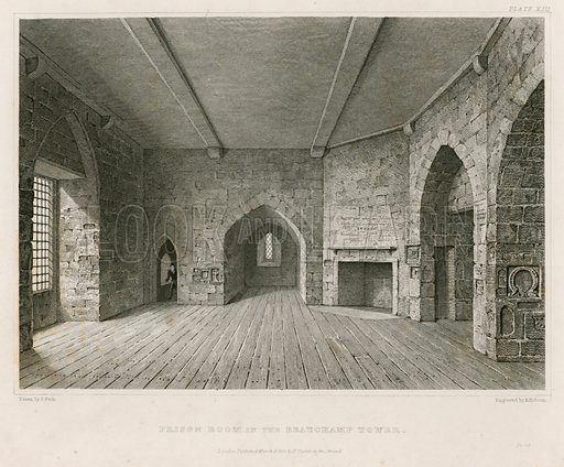 Prison room in the Beauchamp Tower. Published 1821.