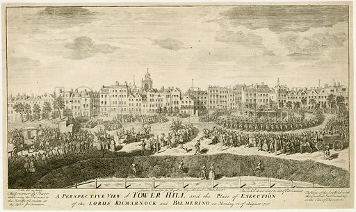 Execution on Tower Hill of the Lords Kilmarnock and Balmerino on 18 August 1746.