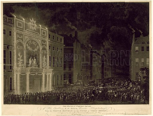 House in Portman Square of the French Ambassador, illuminated to celebrate the Peace, 29 April 1802.