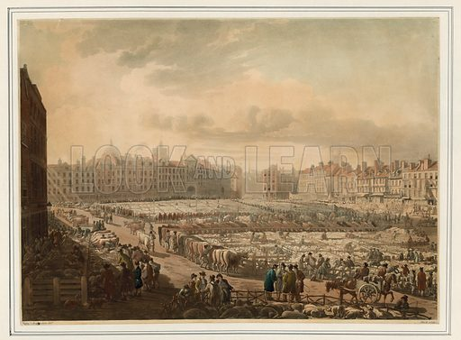 Smithfield market. Credited: Pugin & Rowlandson.