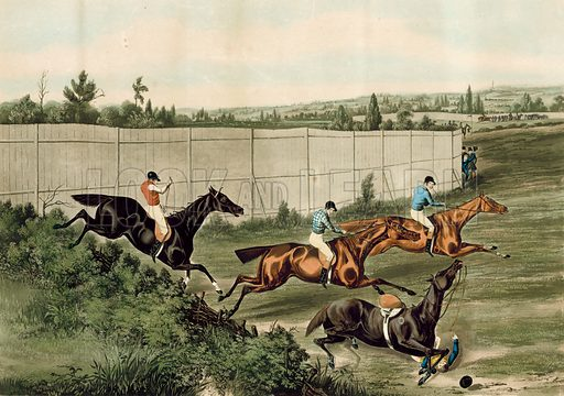 The Last Fence, representing the last Steeplechase which took place at the Hippodrome Race Course, Kensington, London. Credited to Henry Alken Junior. [Original colours digitally restored].