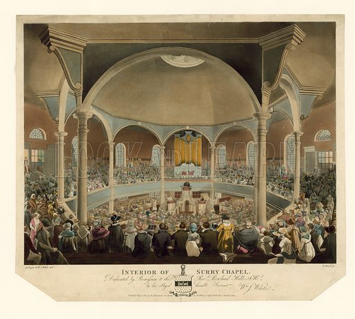 Interior of Surry Chapel. Published 1812.