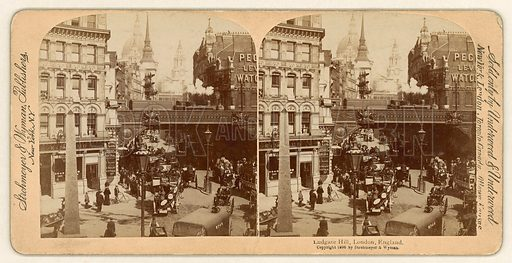Ludgate Hill. Stereoscopic view.