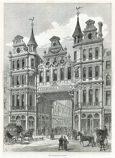 Leadenhall Market.  From the Illustrated London News, 24 December 1881.