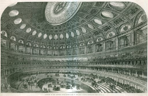 Interior of the proposed Royal Albert Hall. From the Illustrated London News, 25 May 1867.