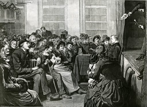 A Saturday Night Entertainment for the Poor, St Alban's Hall, Baldwin's Gardens, Holborn. From the Graphic, 4 February 1888.