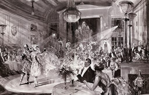"""Supper and Song and Dance: Patrons watching the last turn on the programme of Cabaret Follies – """"Finale Orientale"""". From the Illustrated London News, 21 October 1922."""