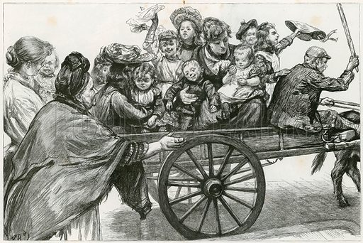 Off to Epping Forest: A Study of a Coster and a Family Party on Whitmonday.  From the Graphic, 27 May 1893.
