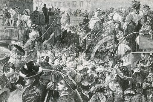 A Popular Cockney Resort: The Crowd at the Foot of Highgate Hill on Bank Holiday. From the Graphic, 24 May 1902.