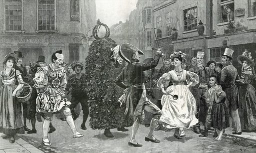 Jack-in-the-Green – a May-day scene sixty years ago (ie c 1830). From the Graphic, 3 May 1890.