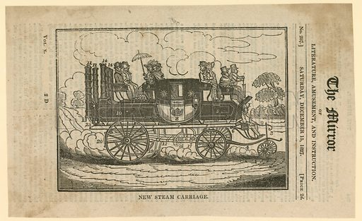 Mr Gurney's New Steam Carriage. From The Mirror, 15 December 1827.