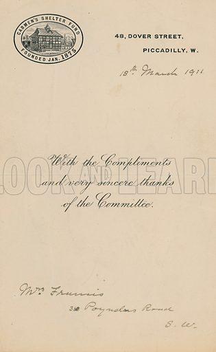 Cabmen's Shelter Fun, founded January 1875. Letter.