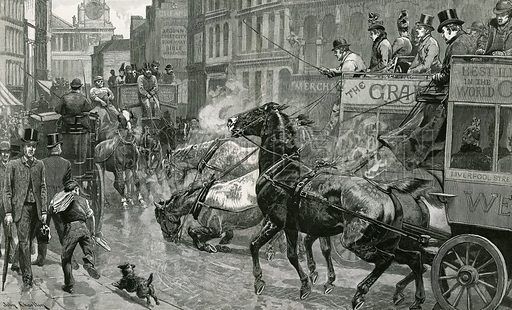 The battle of London streets – Ludgate Hill on a slippery day. From the Graphic, 30 November 1889.