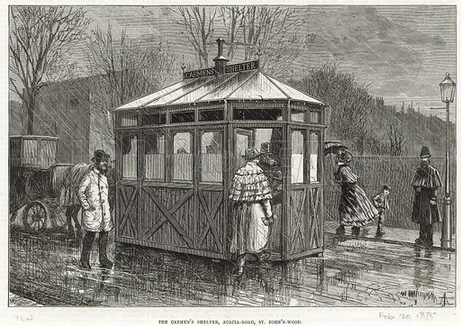 Cab shelter. From the Illustrated London News, 20 February 1875.