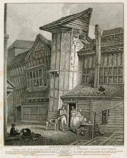 North East View of an old house lately standing in Sweedon's Passage, Grub Street. Drawn 1791. Published 1811.