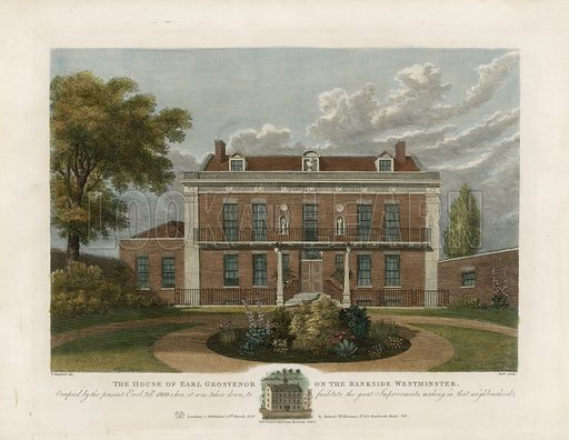 House of the Earl Grosvenor on the Bankside, Westminster. Taken down in 1809. Published in 1821.