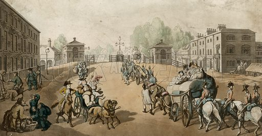 Whitechapel Turnpike. Engraved by Schutz after Rowlandson.