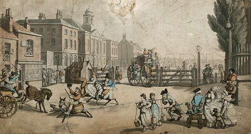 Tottenham Court Road Turnpike. Engraved by Schutz after Rowlandson.
