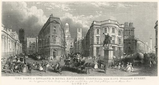 The Bank of England, and Royal Exchange, Cornhill, with King William Street.