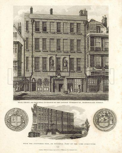 London Workhouse, Bishopsgate Street. Published 1819.