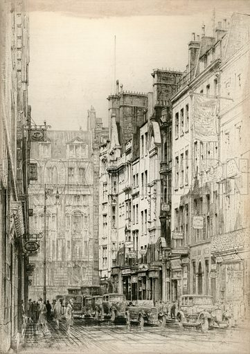 Bond Street. Proof etching. Published 1928. Copyright permissions required for commercial use.
