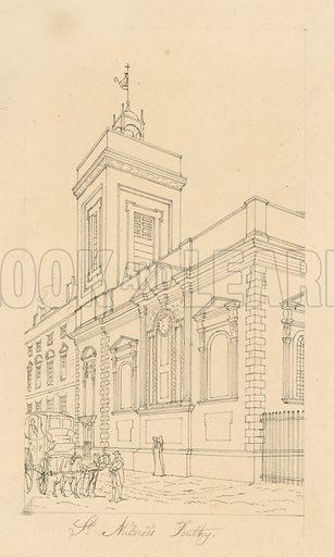 St Mildred's Poultry. Original artwork.
