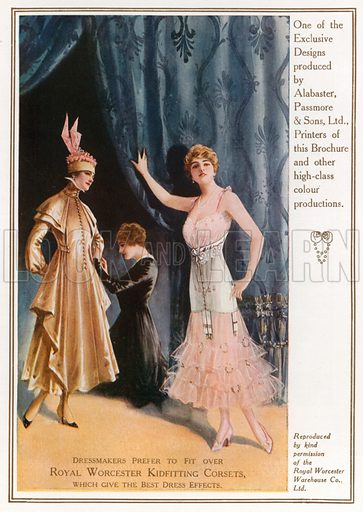 Royal Worcester Kidfitting Corsets. Advertisement. Illustration for London's Social Calendar, c 1915.