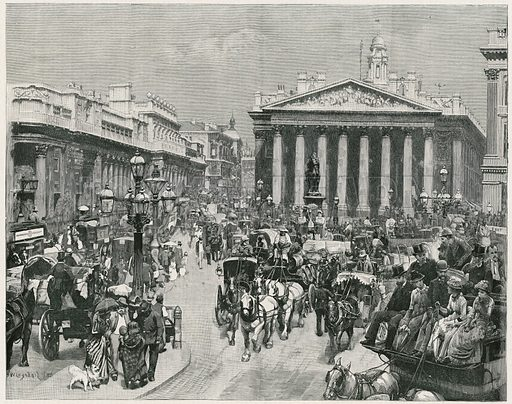 The Bank.  From the Graphic, 15 October 1887.