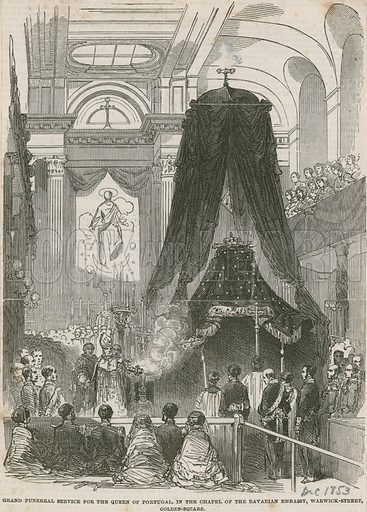 Funeral for the Queen of Portugal, in the chapel of the Bavarian Embassy, Warwick Street, Golden Square.  December 1853.