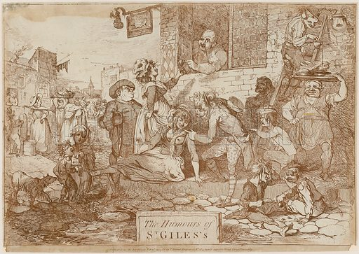 """The Humours of St Giles's. Showing """"The Intrepid Fox"""", Wardour Street, with Sam House, its landlord at the window. House changed the tavern's sign in honour of Charles James Fox whom he supported in the Westminster election of 1784. Published 1788."""