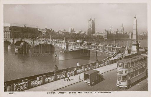 London, Lambeth Bridge and Houses of Parliament.