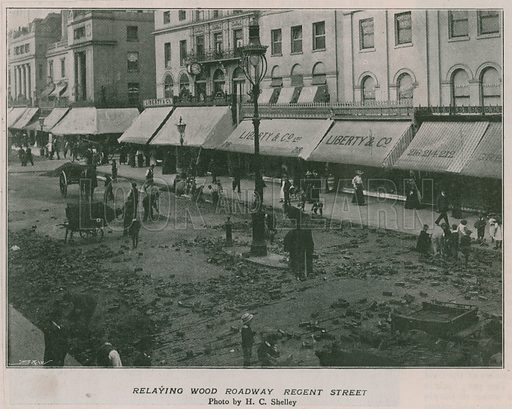 Relaying wood roadway Regent Street.  From Black and White, 28 August 1897.