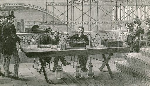 Edison's perfected phonograph in use in the press gallery during the Handel Festival at the Crystal Palace.