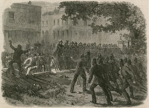 The Riot in Hyde Park: The mob pulling down the railings in Park Lane