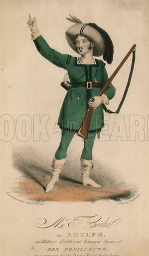 Mr T Cooke as Adolph in Weber's celebrated romantic opera of Der Freischutz performed at the Theatre Royal Drury Lane.