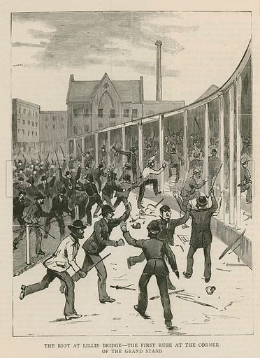 The riot at Lillie Bridge, London: The first rush at the corner of the Grand Stand
