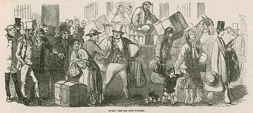 The Great Cab Strike: Everyone his own porter; from The Illustrated London News, 6 August 1853.