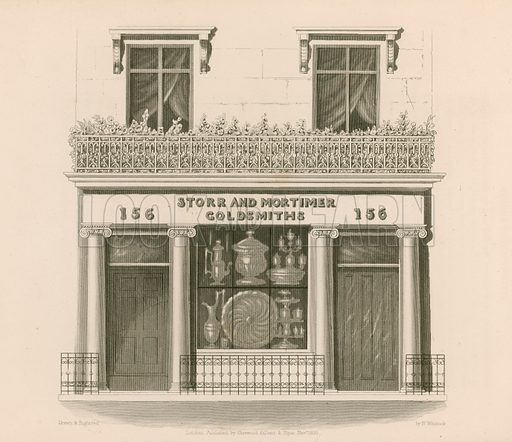 Ionic style shop front of Messrs Storr and Mortimer, goldsmiths and jewellers, No 156, Bond Street, London