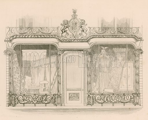 Shop front for Messrs Saunders and Woodley, Upholsterers, Regent Street, London. Illustration for Shop Fronts of London by N Whittock (Sherwood, Gilbert and Piper, 1840).