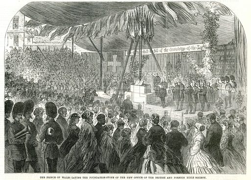 The Prince of Wales laying the foundation stone of the new office of the British and Foreign Bible Society; from The Illustrated Times, 16 June 1866.