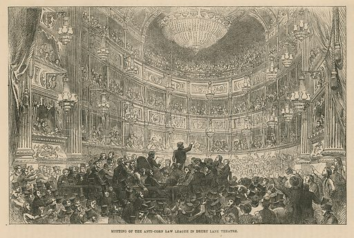 Meeting of the Anti-Corn Law League in Drury Lane Theatre.