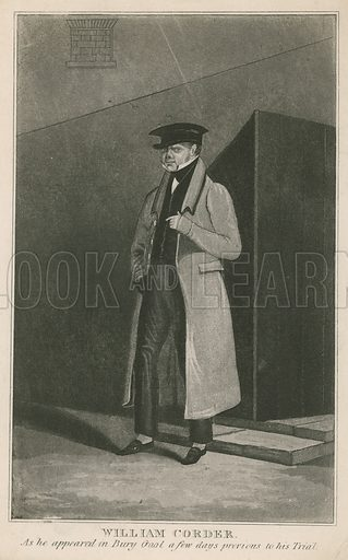 William Corder, as he appeared in Bury Gaol a few days previous to his trial; Corder was tried and executed for what became known as the Red Barn Murder – the murder of Maria Marten – in 1828.
