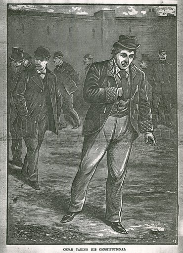 Oscar Wilde taking his constitutional; from the Illustrated Police Budget, 27 April 1895.