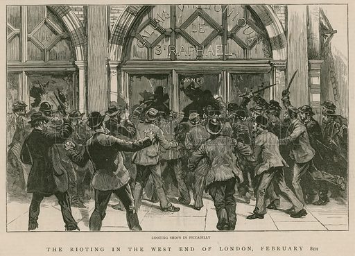The rioting in the West End of London, 8 February 1886: Looting shops in Piccadilly